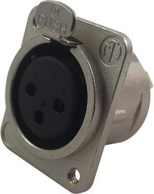 NC3FDM3L1, Аудио разъем XLR, 3 контакт(-ов), Гнездо, Монтаж в Панель, Контакты с Покрытием из Серебра
