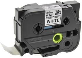 TZES251, Наклейка ламинированная плотная TZe-S251 (24мм чёрный шрифт на белом фоне, длина 8м)