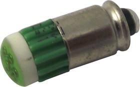 15121451, Сменная светодиодная лампа, 12 чипов, Midget Groove / S5.7s, Зеленый, T-1 3/4 (5мм), 567 нм, 90 мкд