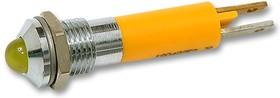 19040252, Светодиодный индикатор в панель, обрамление из матового хрома, Желтый, 12 В DC, 8 мм, 20 мА, 32 мкд