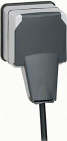 Розетка 1-м ОП Plexo 16А IP66 3P+E защ. шторки с крышкой сер. Leg 090465