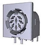 5212047-1, Conn Shielded Circular DIN F 8 POS Solder RA Thru-Hole 8 Terminal 1 Port Tube