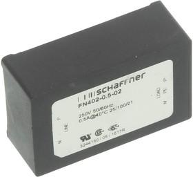 FN402-0.5-02, Фильтр ЛЭП, 0.1 мкФ, 250 В AC, IEC, Сетевой, 500 мА, Сквозное Отверстие, 40 мГн