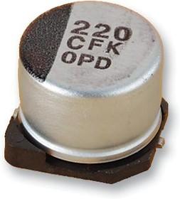 EEEFK1A221AP, SMD электролитический конденсатор, Radial Can - SMD, 220 мкФ, 10 В, 1000 часов при 105°C