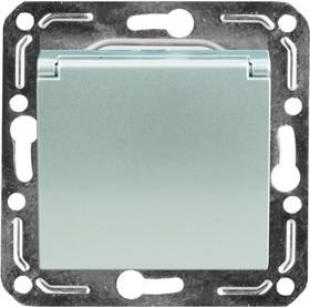 V01-15-R18-M (Розетка 1-мест. с зазем. и крышкой Argento(серебро), м-зм, Magenta )