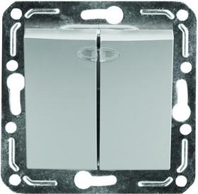 V01-15-V22-M (Выключатель 2-кл. с инд. Argento(серебро), м-зм, Magenta )