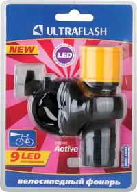 LED652 (фонарь велосипедный, пластик, черный, 9 LED, 3xR03)