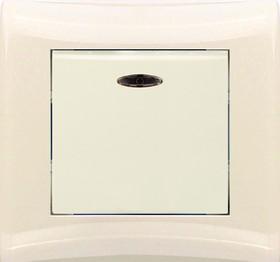 V01-12-P12-S (Переключатель/выкл. проходной 1-кл. c инд. (крем), в сб. Magenta)