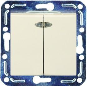 V01-12-V22-M (Выключатель 2-кл. с инд. (крем), м-зм, Magenta)