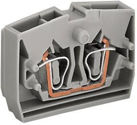 264-301, Клеммная колодка на DIN рейку, Торцевая клемма с монтажным фланцем, серая, 2 вывод(-ов), 28 AWG