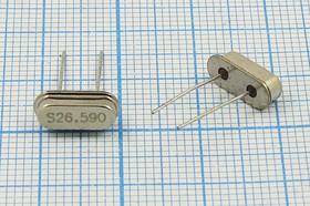 кварцевый резонатор 26.590МГц в низком корпусе HC49S, 1-ая гармоника, нагрузка 16пФ, 26590 \HC49S3\16\\\49S[SDE]\1Г (S26.590)