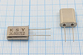 кварцевый резонатор 26.601712МГц в корпусе HC49U, 1-ая гармоника, нагрузка 16пФ, 26601,712 \HC49U\16\\\\1Г (KSY 26.601712)