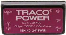 TEN 40-2415WIR, Module DC-DC 24VIN 1-OUT 24V 1.666A 40W 6-Pin DIP Module