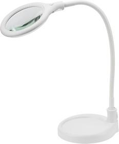 Фото 1/6 31-0247, Лупа настольная 3D с подсветкой 30 LED, подставка+прищепка, белая