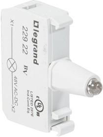 Блок контактов со светодиодом 48В под винт зел. Osmoz Leg 022922