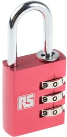 K25007-30 RED, COMBINATION SAFETY PADLOCK 30 MM
