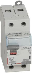 Фото 1/2 Выключатель дифференциального тока (УЗО) 2п 63А 300мА тип AC DX3 Leg 411526