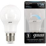 Лампа светодиодная Led A60-dim E27 11Вт 4100К диммируемая Gauss 102502211-D