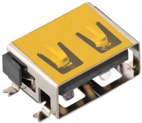 629104190121, Разъем USB, USB Типа A, USB 2.0, Гнездо, 4 вывод(-ов), Поверхностный Монтаж, Горизонтальный | купить в розницу и оптом