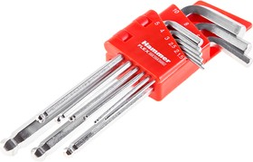 Набор шестигранных ключей Hammer Flex 601-030 9 шт.: 1.5;2;2,5;3;4;5;6;8;10 мм, CRV