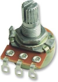 P160KNP-0QC20A500K, Поворотный потенциометр, токопроводящий пластик, 500 кОм, 1 виток(-ков), Логарифмический, 100 мВт