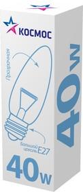 Лампа накаливания КОСМОС 40 Ватт, свеча прозрачный E27