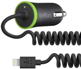 F8J074btBLK, АЗУ для iPod/iPhone/iPad Coiled Car Charger (hard wired lightning connector), Black