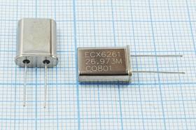 кварцевый резонатор 26.973МГц в корпусе HC49U, 1-ая гармоника, нагрузка 14пФ, 26973 \HC49U\14\ 15\ 30/-20~70C\EU[HC49U]\1Г