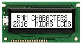 MC21605A6WR-FPTLW-V2, Буквенно-цифровой ЖКД, 16 x 2, 5В, Английский, Кириллица, Японский, Полупрозрачный