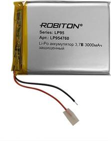 Фото 1/2 LP954760, Аккумулятор литий-полимерный (Li-Pol) 3000мАч 3.7В, с защитой
