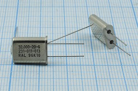 кварцевый резонатор 32МГц,корпус HC49U,с заземляющим выводом,третья гармоника,нагрузка 20пФ, 32000 \HC49U+LW\20\ 30\\HC49U[RALTRON]\3Г (RAL)