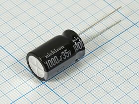 Фото 1/5 Конденсатор электролитический 1000мкФ/35В , кэ 1000\ 35\13x20\20\+105C\ Al\2L5\UVZ\NICHICON