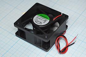 Фото 1/6 Вентилятор постоянного тока 12 Вольт, 60x60x25мм, подшипник скольжения, 4500об/мин, ВН087L вент 60x60x25\ 12В\1,8Вт\2L\ПС\ KD1206PTS1.GN