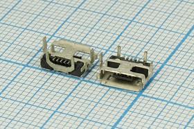 Фото 1/2 Разъем micro USB-AB, Гнездо угловое, 5 выводов, Поверхностный Монтаж на плату, № 14378 гн microUSB \AB\5C4HP\плат\ угл\SMD\microUSB AB-5SD