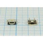 Фото 2/2 Разъем micro USB-AB, Гнездо угловое, 5 выводов, Поверхностный Монтаж на плату, № 14378 гн microUSB \AB\5C4HP\плат\ угл\SMD\microUSB AB-5SD