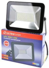 Фото 1/2 ULTRAFLASH LFL-3001 C02 светодиодный, 30Вт, 6500К, IP65 черный, Прожектор