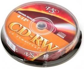 Фото 1/2 VS CD-RW 80 4-12x CB/10, Перезаписываемый компакт-диск