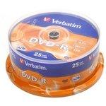Фото 2/2 Оптический диск DVD-R VERBATIM 4.7Гб 16x, 25шт., cake box [43522]