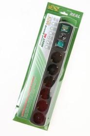 MOST REAL RG-ч 2м 6 розеток, черный BL1, Сетевой фильтр