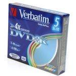 Фото 3/3 Оптический диск DVD+R VERBATIM 4.7Гб 16x, 5шт., slim case, разноцветные [43556]
