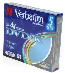 Фото 1/3 Verbatim 43556 DVD+R DL+паст.цв 4.7GB SC, Записываемый компакт-диск