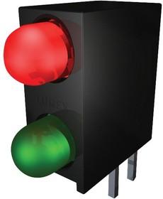 SSF-LXH240IGD, Индикатор печатной платы, Зеленый Красный, 2 светодиод(-ов), Сквозное Отверстие, T-1 (3мм)