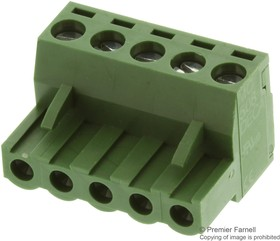 MCTC-10D05, TERMINAL BLOCK PLUGGABLE, 5 POSITION, 24-12AWG, 5.08MM