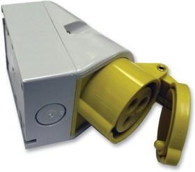 11302, Разъем Pin & Sleeve, 16 А, 110 В, Поверхностный Монтаж, Вывод, 2P+E, Желтый