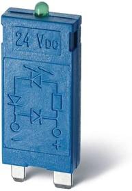 Фото 1/2 Модуль индикации и защиты LED + диод ( + A1) 6...24В DC зел. FINDER 9901902499