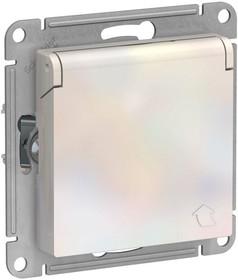 Механизм розетки 1-м СП AtlasDesign 16А IP20 с заземл. защ. шторки с крышкой жемчуж. SchE ATN000446