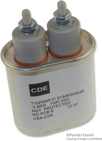 T10P5NR-F, PAPER FILM CAPACITOR, 0.5UF, 1000V, CAN