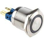 AV03L-B12-M3-FR-G-24V, Single Pole Double Throw (SPDT) Latching Green LED Push ...