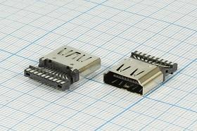 Фото 1/3 Гнездо HDMI с монтажной платой под пайку; № 14838 гн HDMI\19C\\\HDMI7008 WELDING\