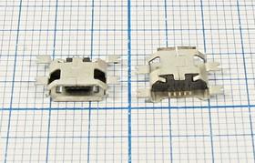 Разъем micro USB-B, Гнездо угловое, 5 выводов, Поверхностный Монтаж на плату; № 2068 гн microUSB \B\5C4HP\плат\угл\ SMD\microUSBB5SA2